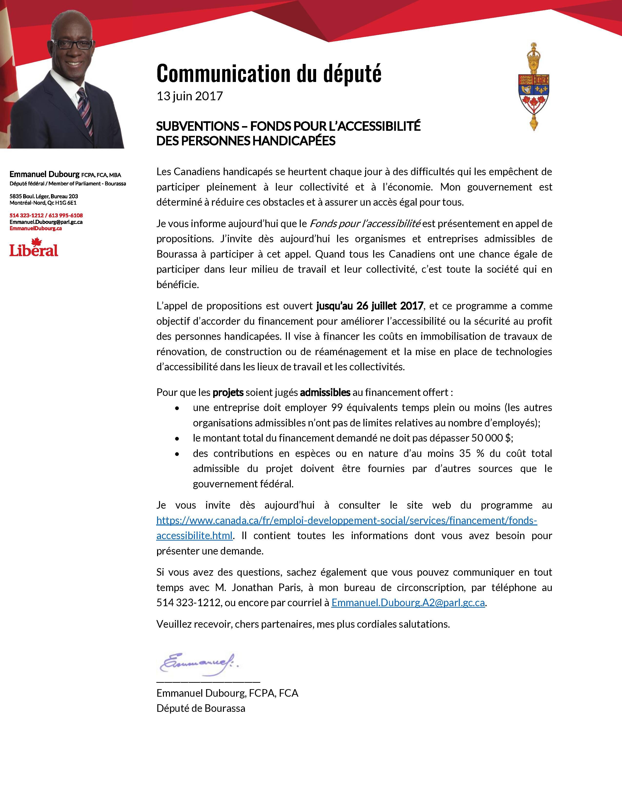 Communiqué du député Monsieur Dubourd